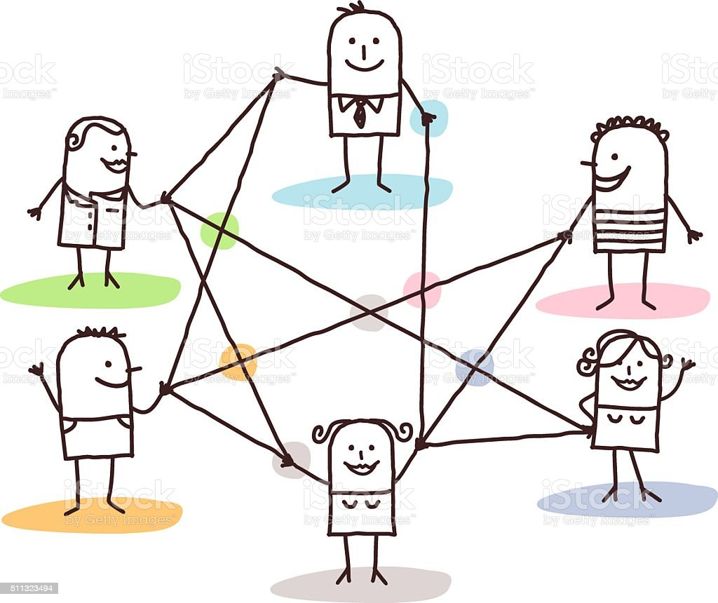 group of people connected by lines vector art illustration