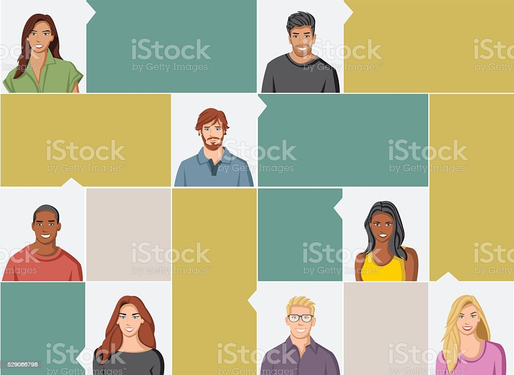 group of people faces vector art illustration