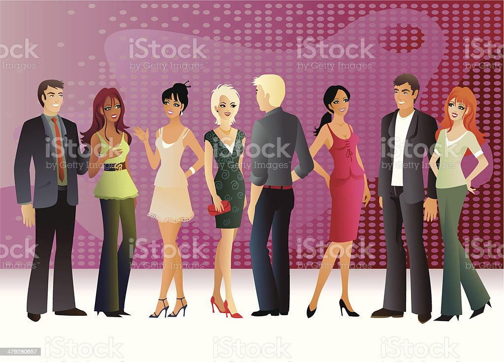 Group of People, Five Women and Three Men vector art illustration