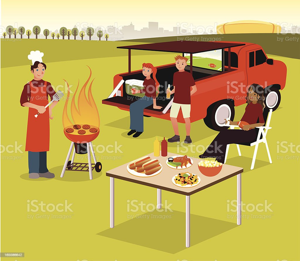 Group of People Having Tailgate BBQ Party vector art illustration