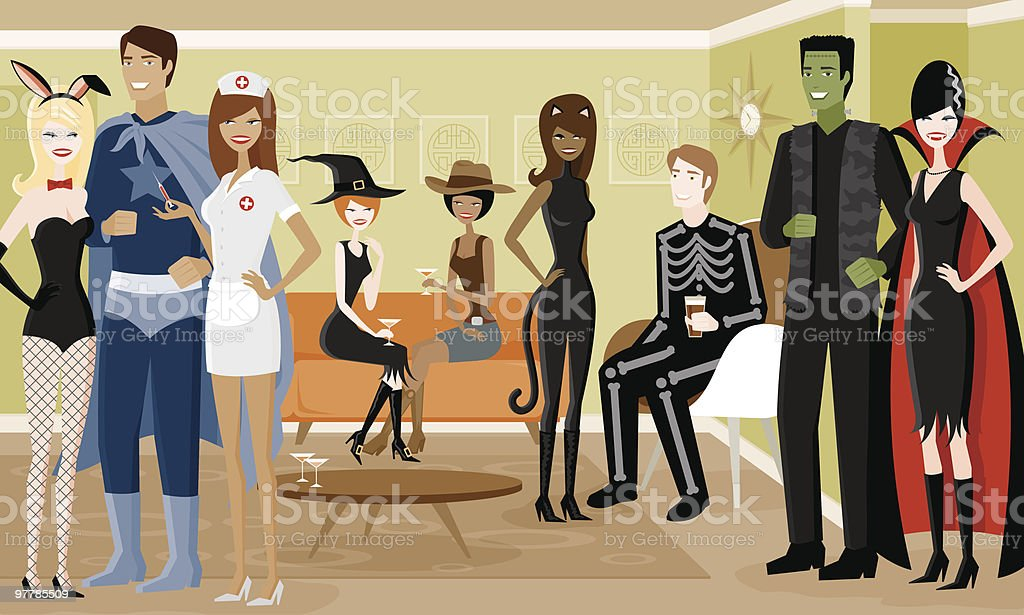 Group of People in Halloween Costumes at Party royalty-free stock vector art