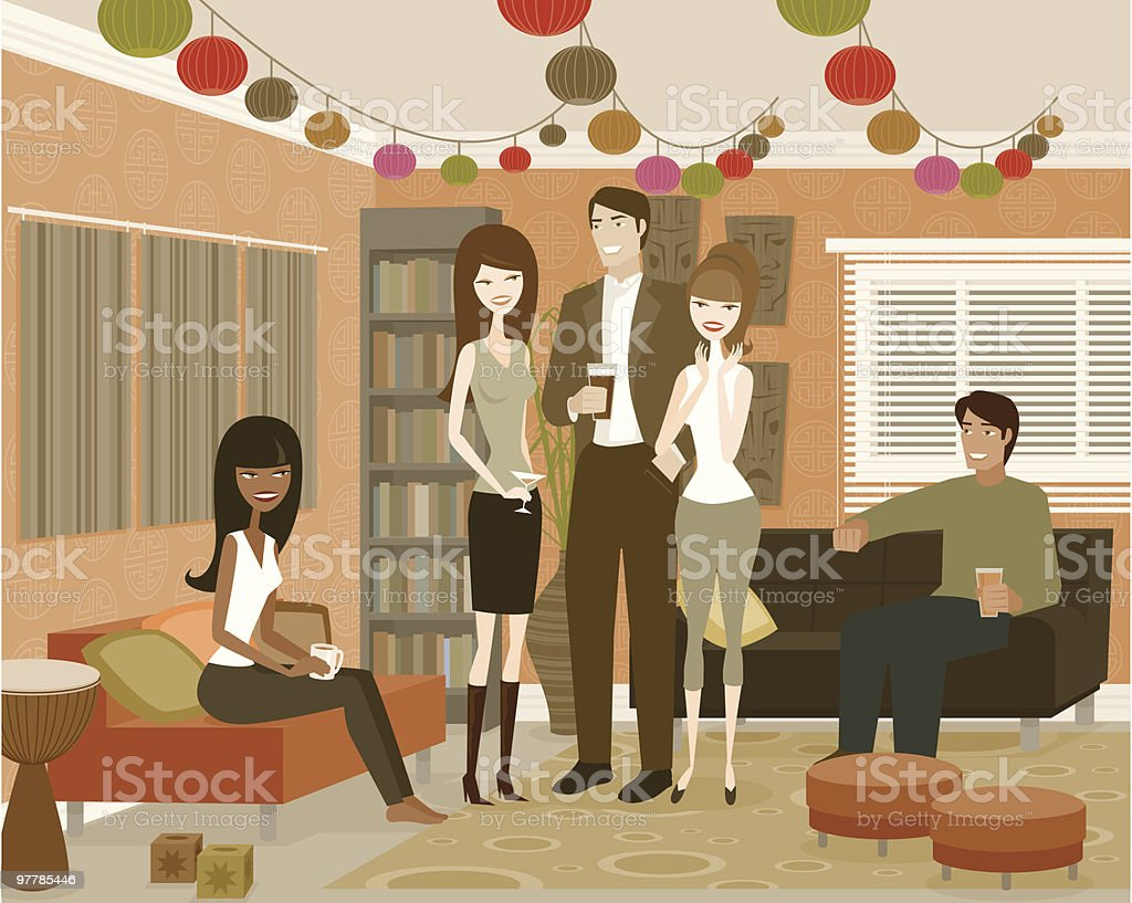 Group of People in Living Room at Party royalty-free stock vector art