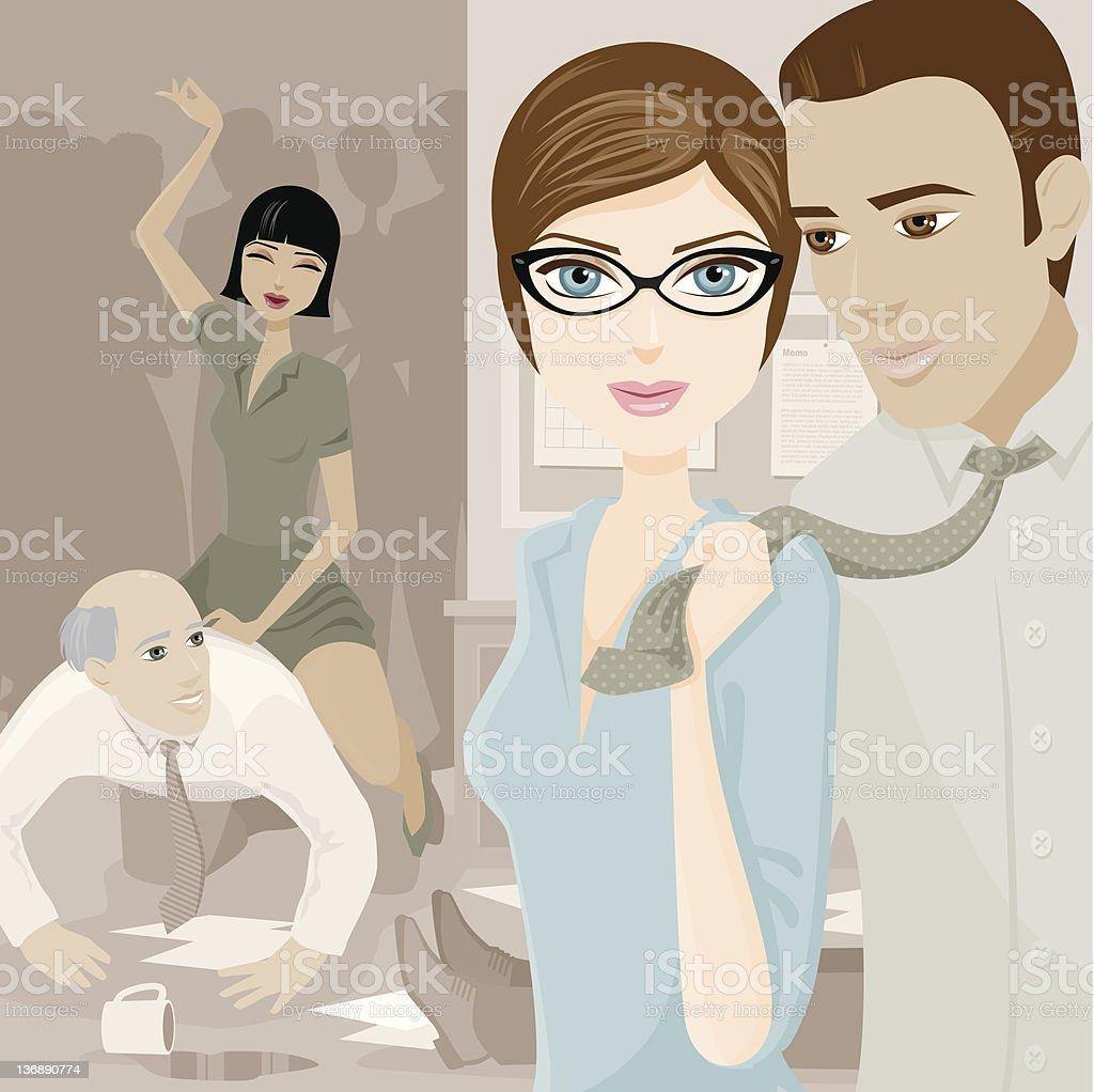 Group of People in Office Having Wild Party vector art illustration