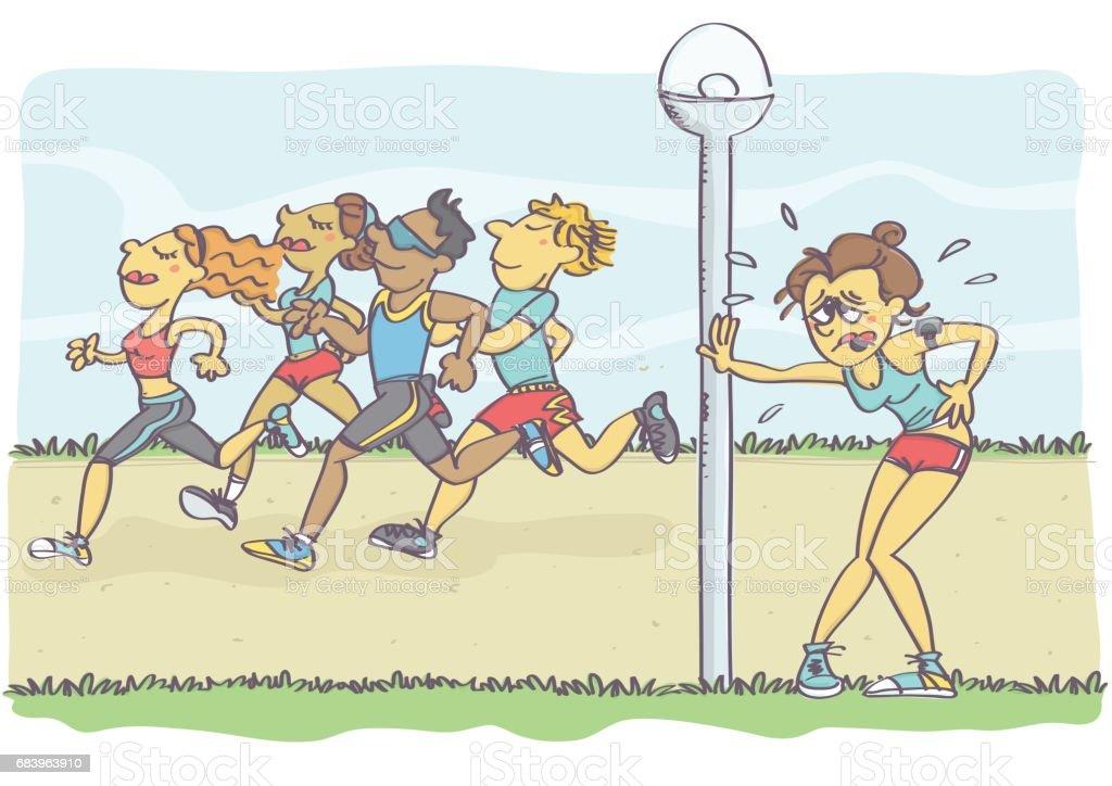 Group of people jogging vector art illustration