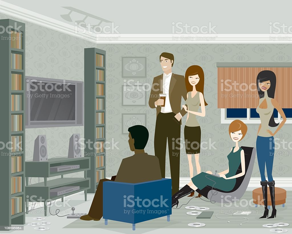 Group of People Playing Video Games vector art illustration