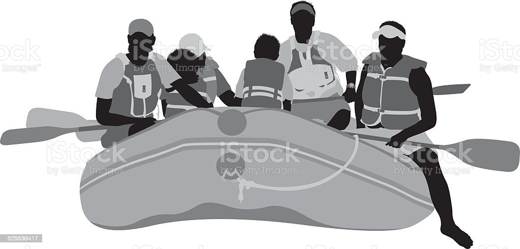Group of people river rafting vector art illustration