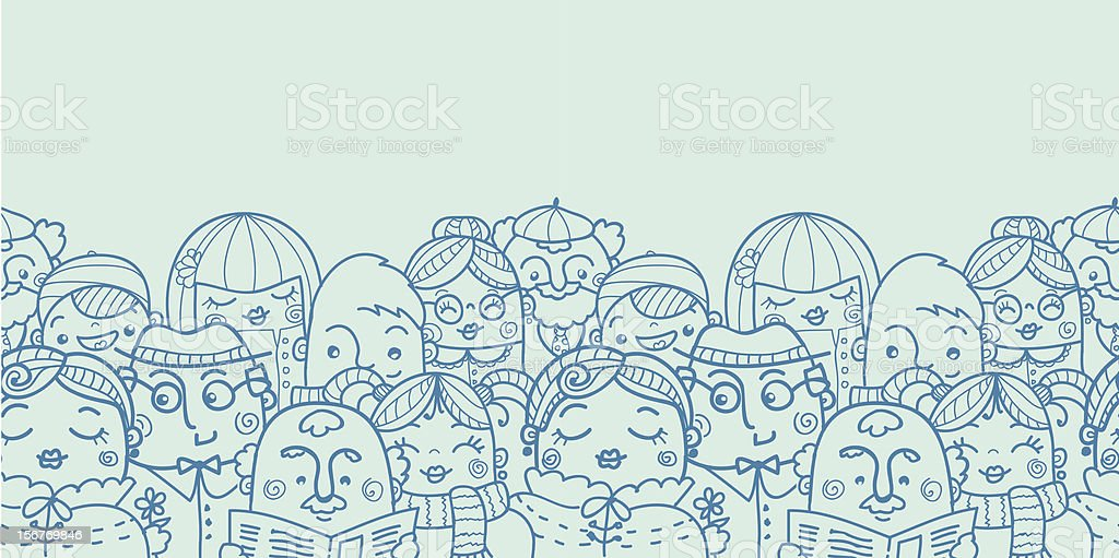 Group of people seamless horizontal pattern royalty-free stock vector art