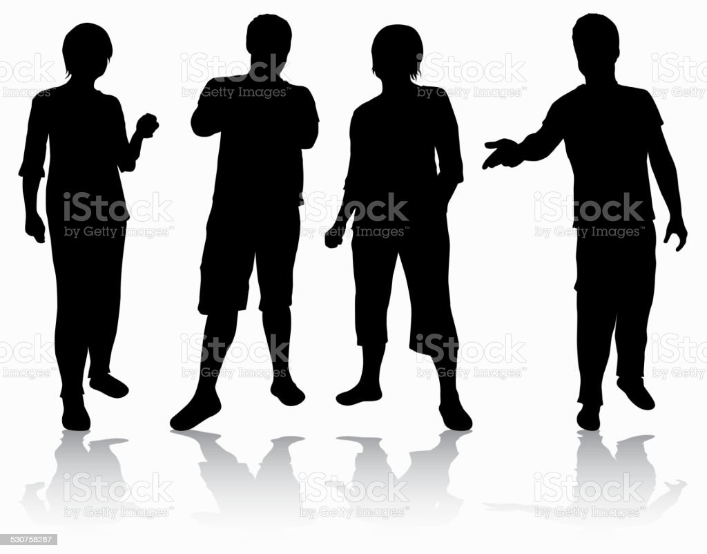 Group of people silhouettes vector art illustration