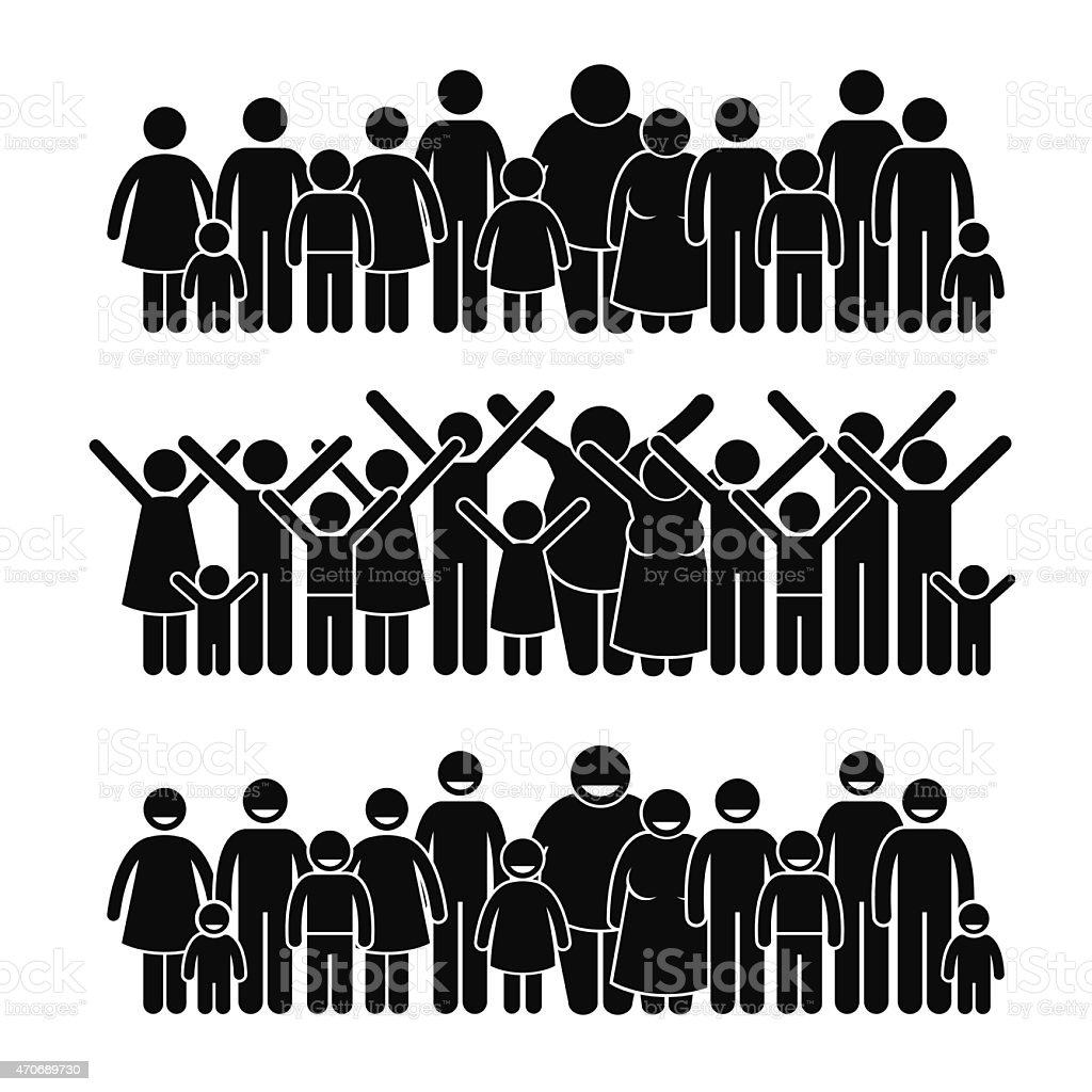 Group of People Standing Community Stick Figure Pictogram Icons vector art illustration