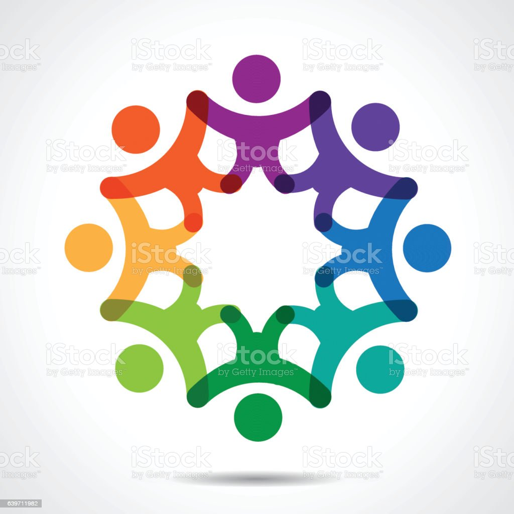 Group of People Unity vector art illustration