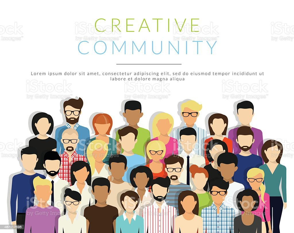 Group of people vector art illustration