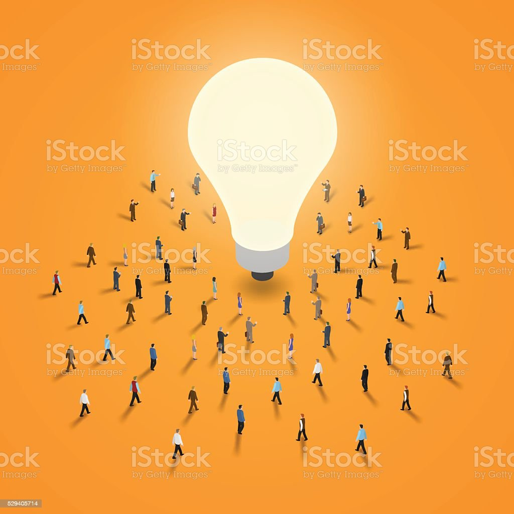 Group of people walking to a light bulb. vector art illustration