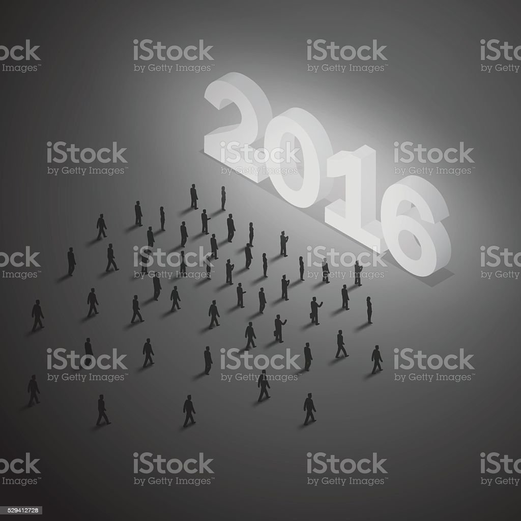 Group of people walking toward glowing year 2016 to celebrate vector art illustration