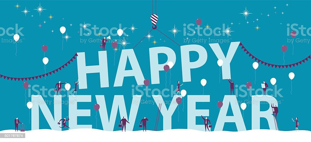 group of person celebrating new year vector art illustration
