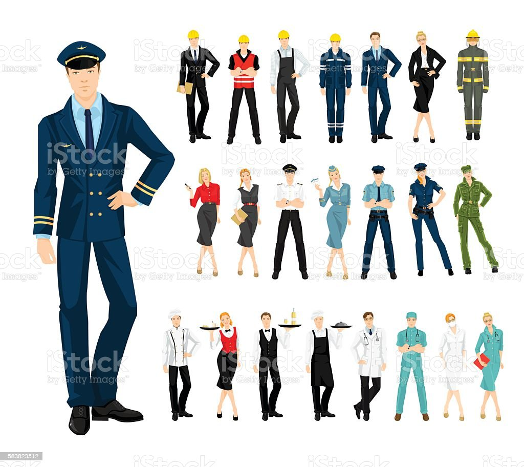 Group of professional people in uniform vector art illustration