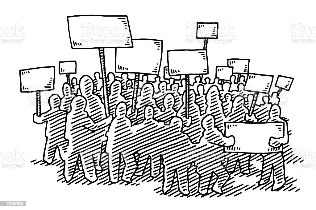 Group Of Protesters Blank Signs Drawing vector art illustration