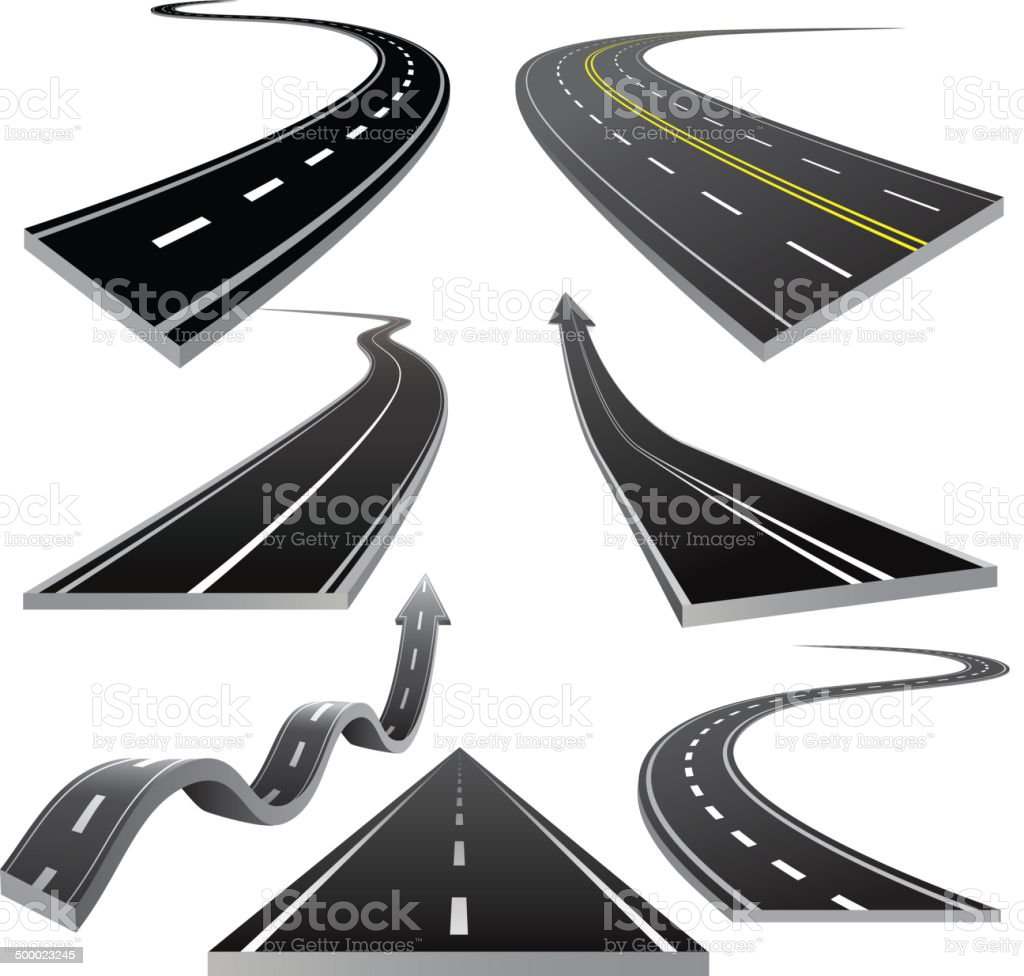 Group of roads vector art illustration