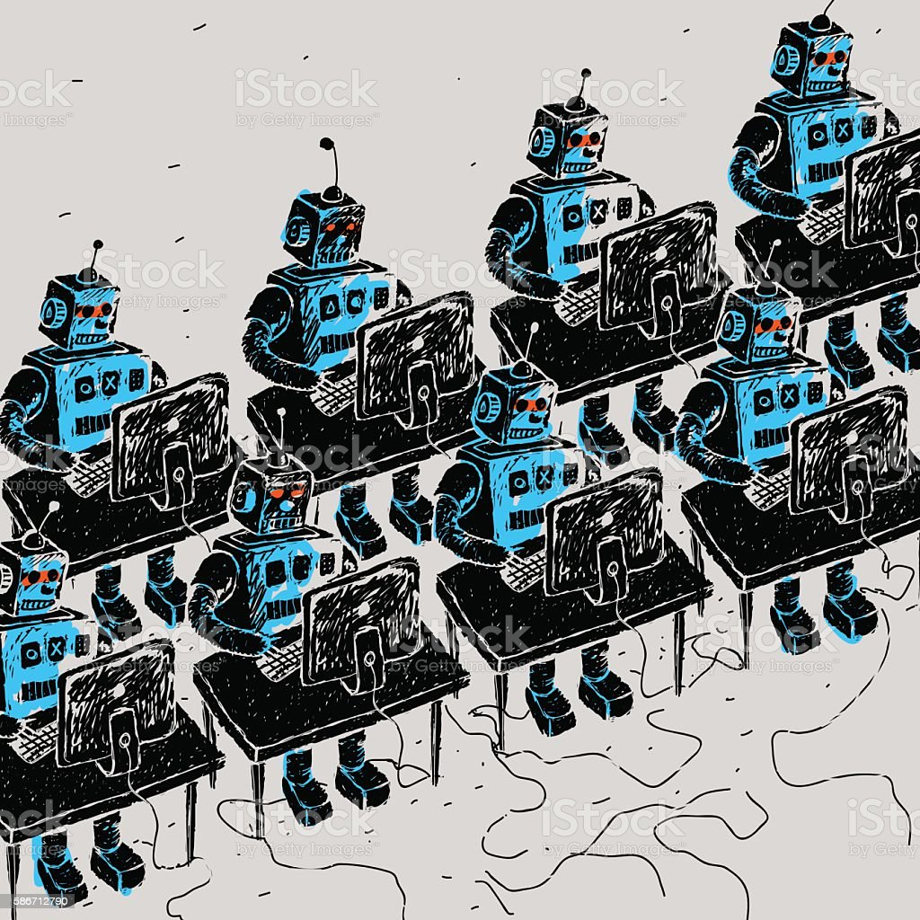 Group of Robots and personal computer vector art illustration