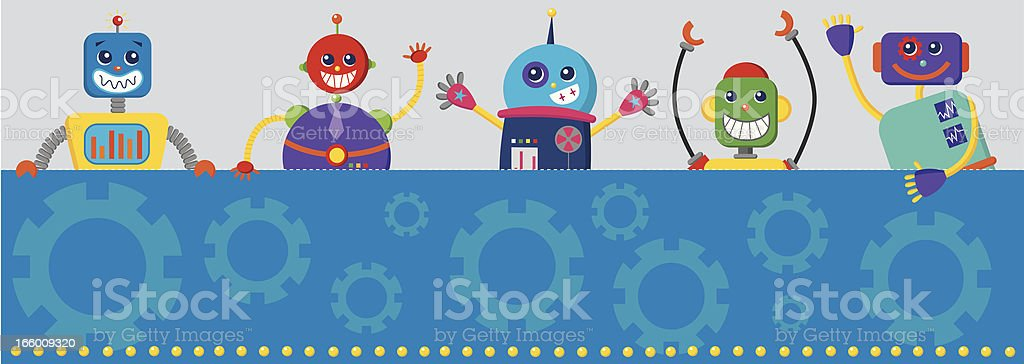 Group of robots holding a sign royalty-free stock vector art