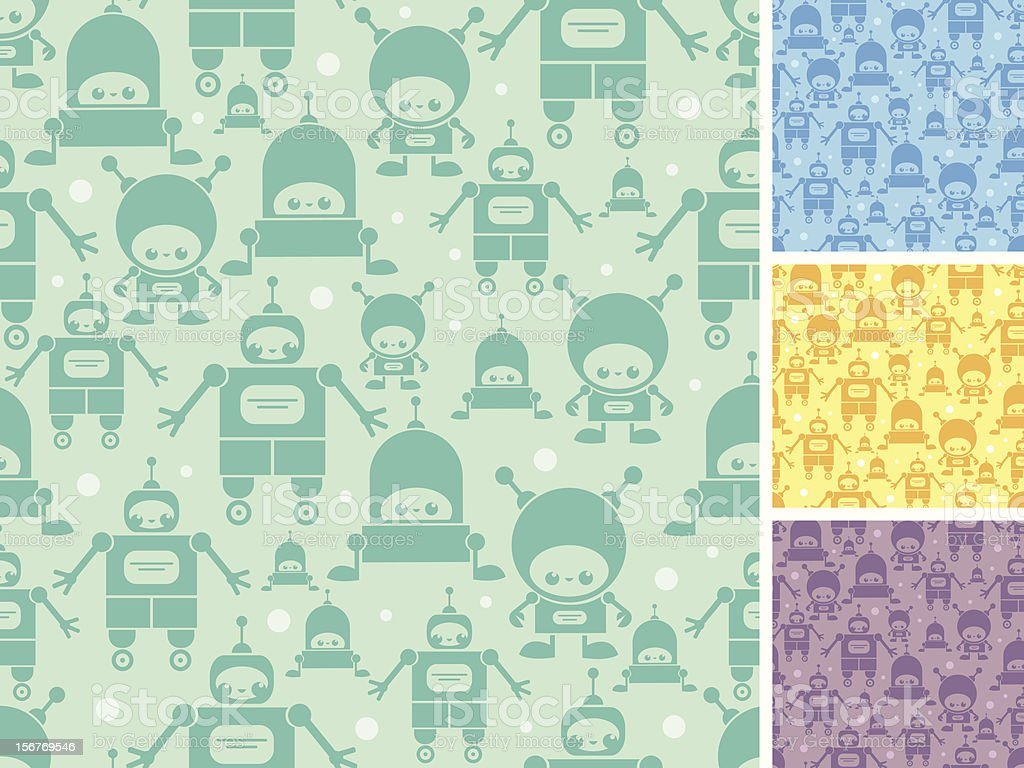 Group of robots seamless patterns set royalty-free stock vector art