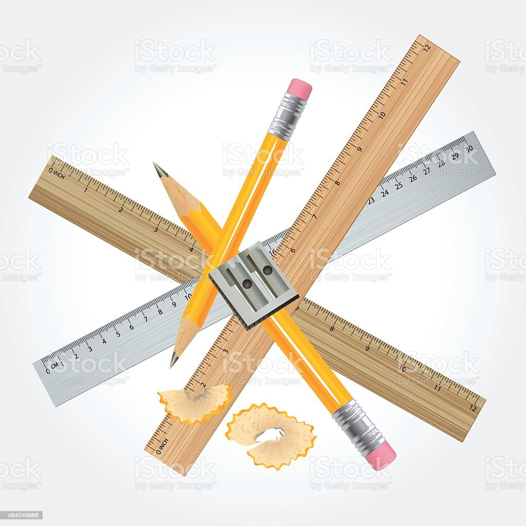 Group Of Rulers And Pencils vector art illustration