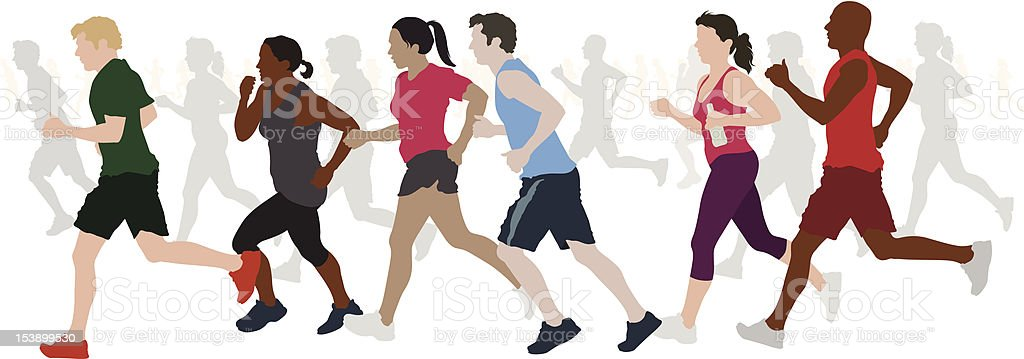 Group of Runners. royalty-free stock vector art