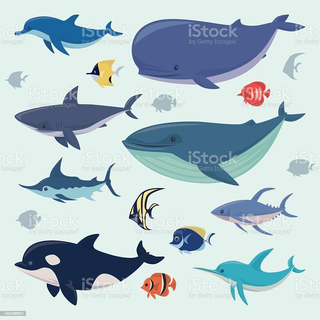 group of sea creatures vector art illustration