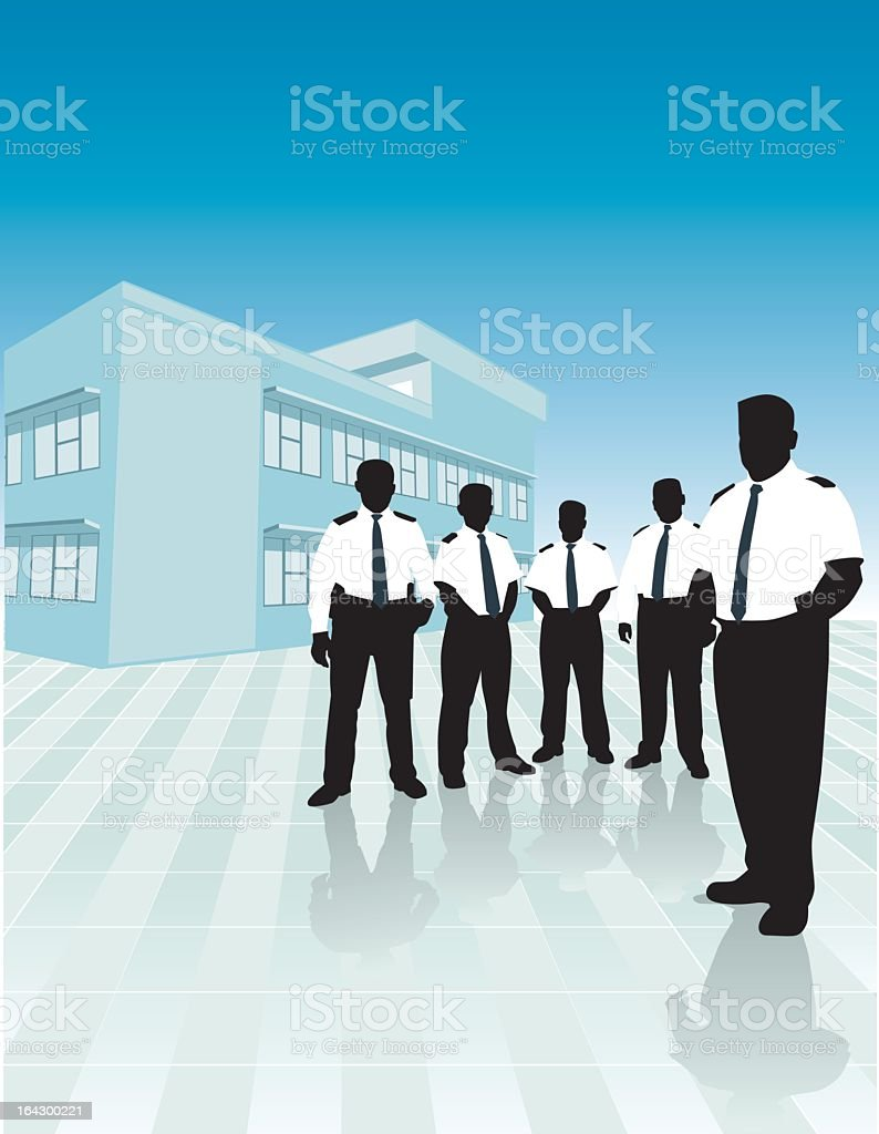 A group of security guard men near a building vector art illustration