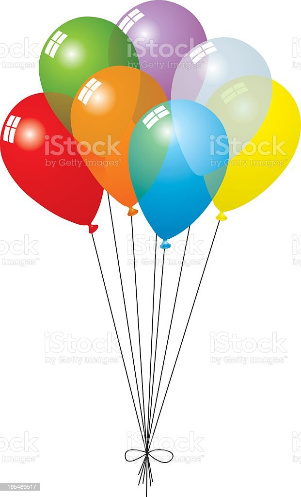 A group of seven different colored balloons tied together vector art illustration
