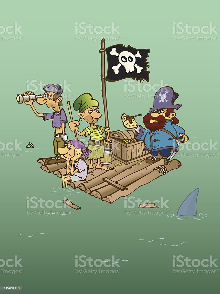 Group of Shipwrecked pirates on a raft vector art illustration