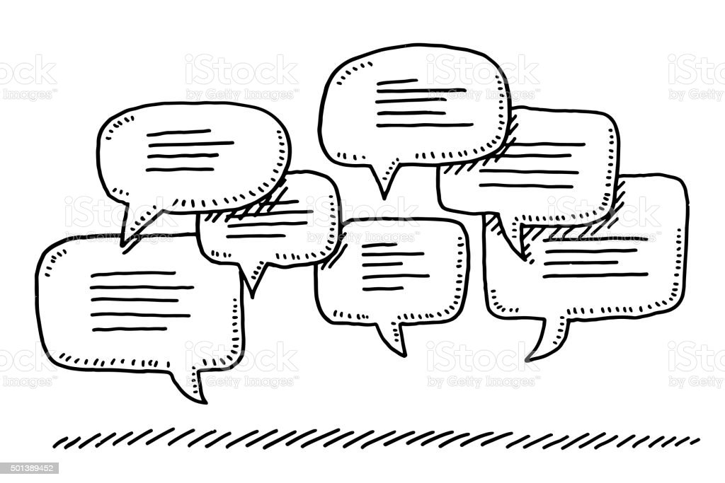 Group Of Speech Bubbles Drawing vector art illustration
