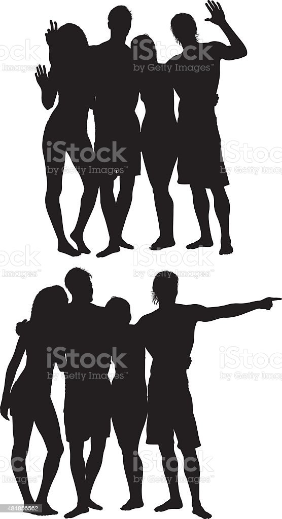 Group of swimmers waving hand and pointing vector art illustration