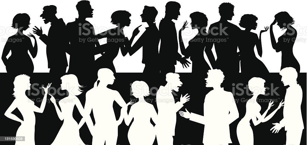 Group of talking people vector art illustration