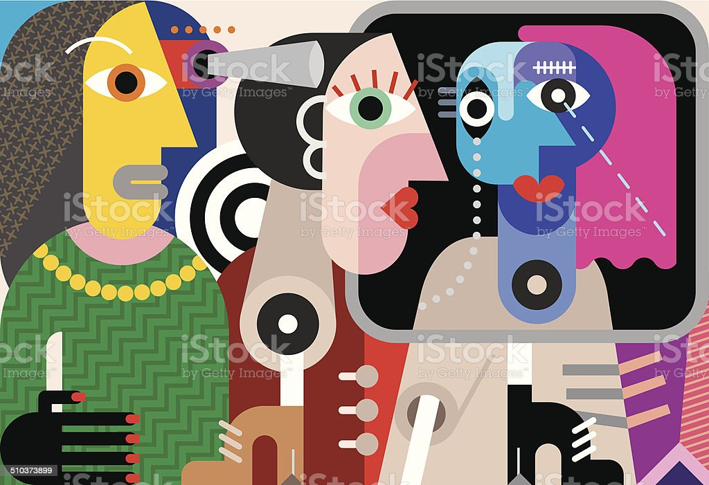 Group of talking people vector art illustration