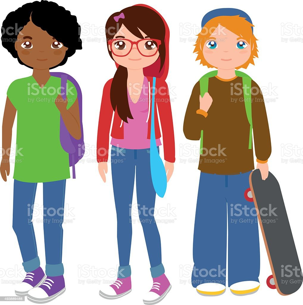 Group of teenager students vector art illustration