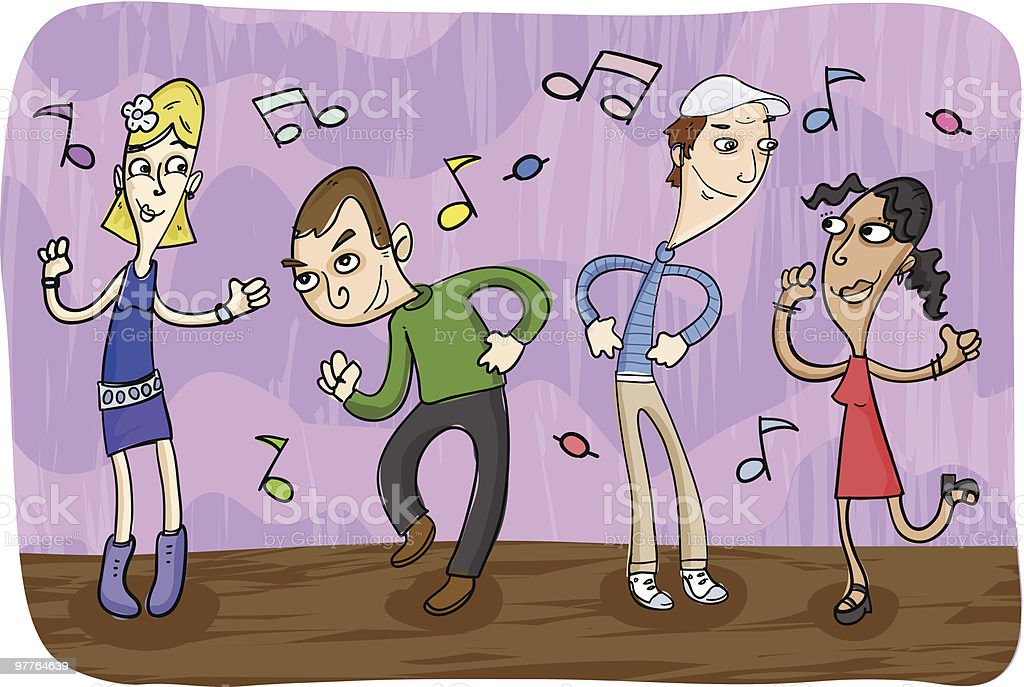 Group of Teenagers Dancing to Music royalty-free stock vector art