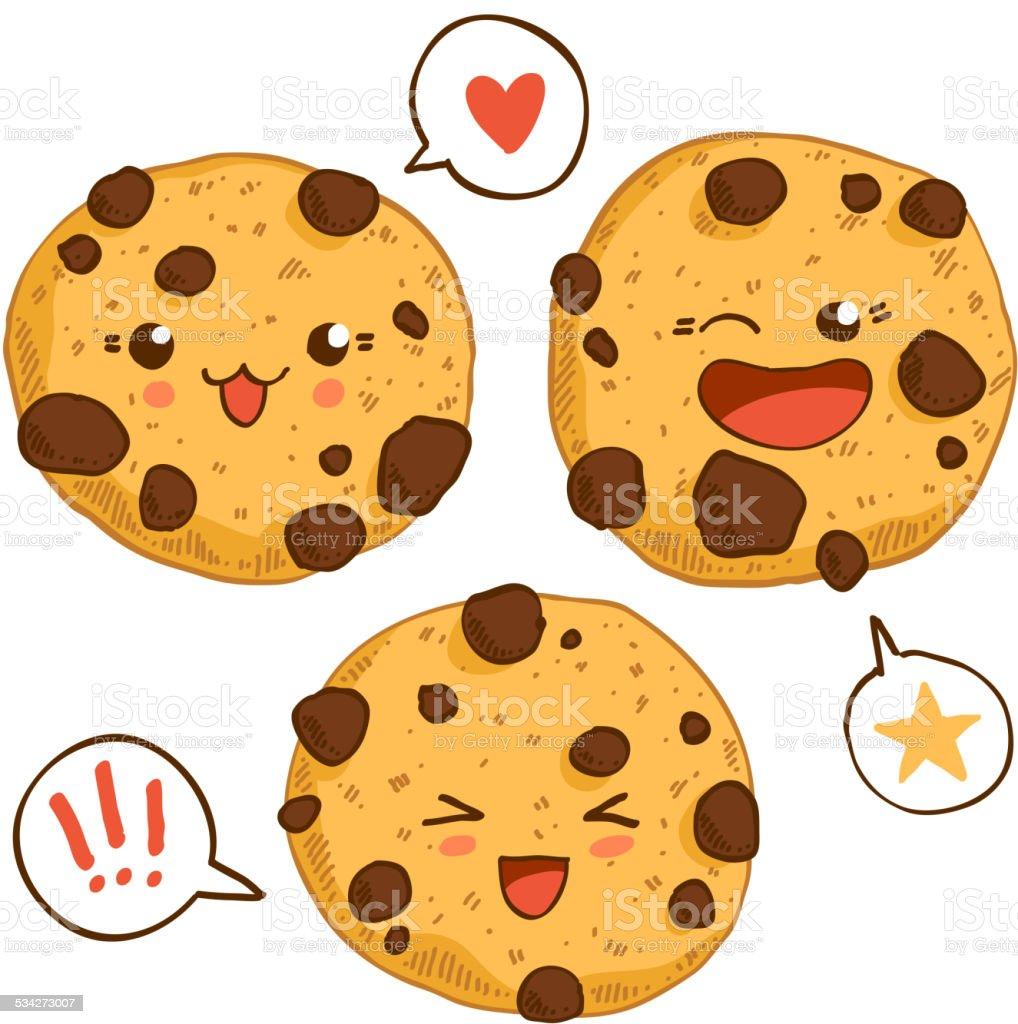 Group of three cute kawaii cookies. vector art illustration