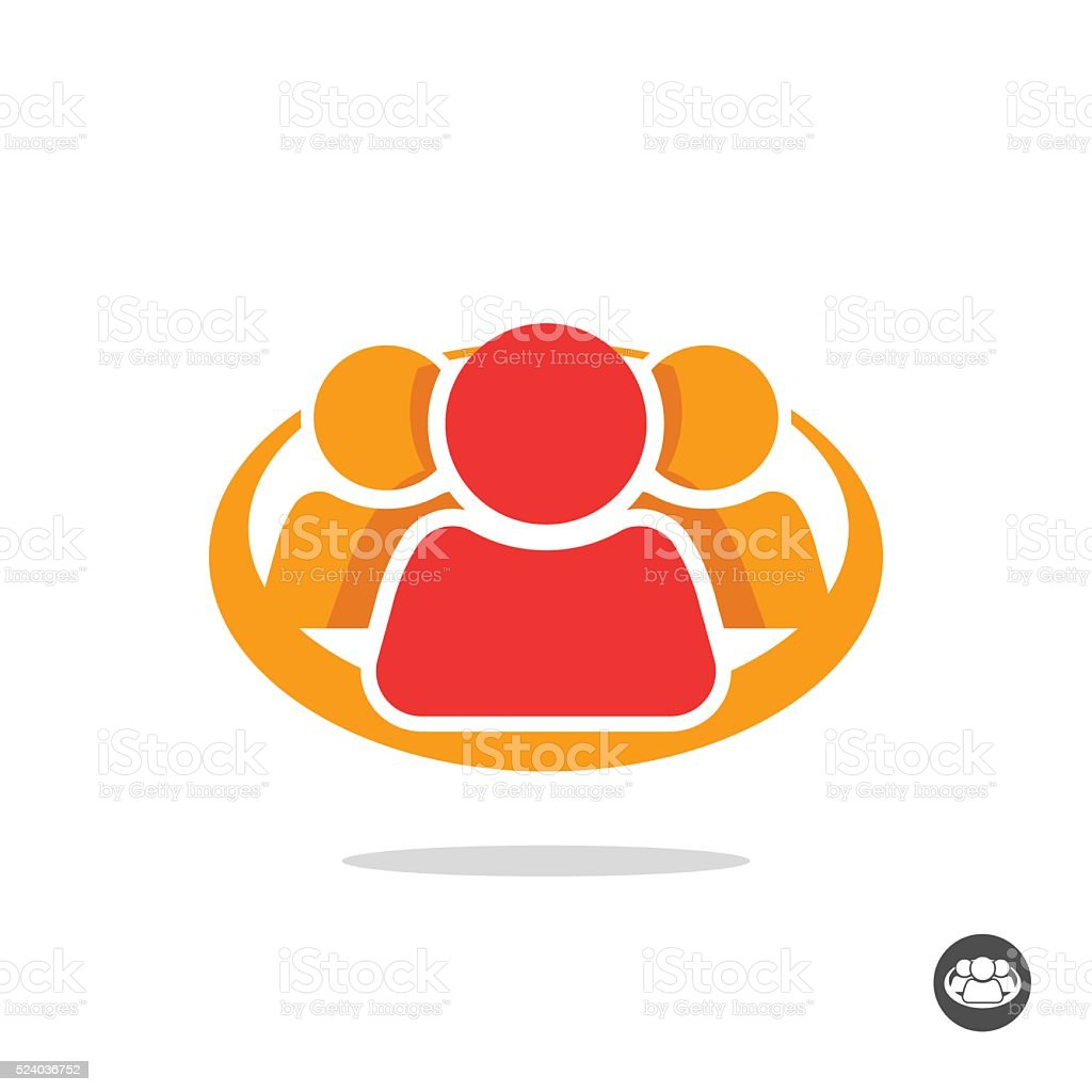 Group of three people logo sign, organization icon symbol vector art illustration