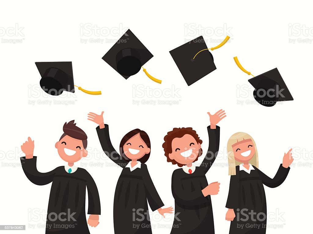 Group of university graduates in black gowns throw up caps. vector art illustration