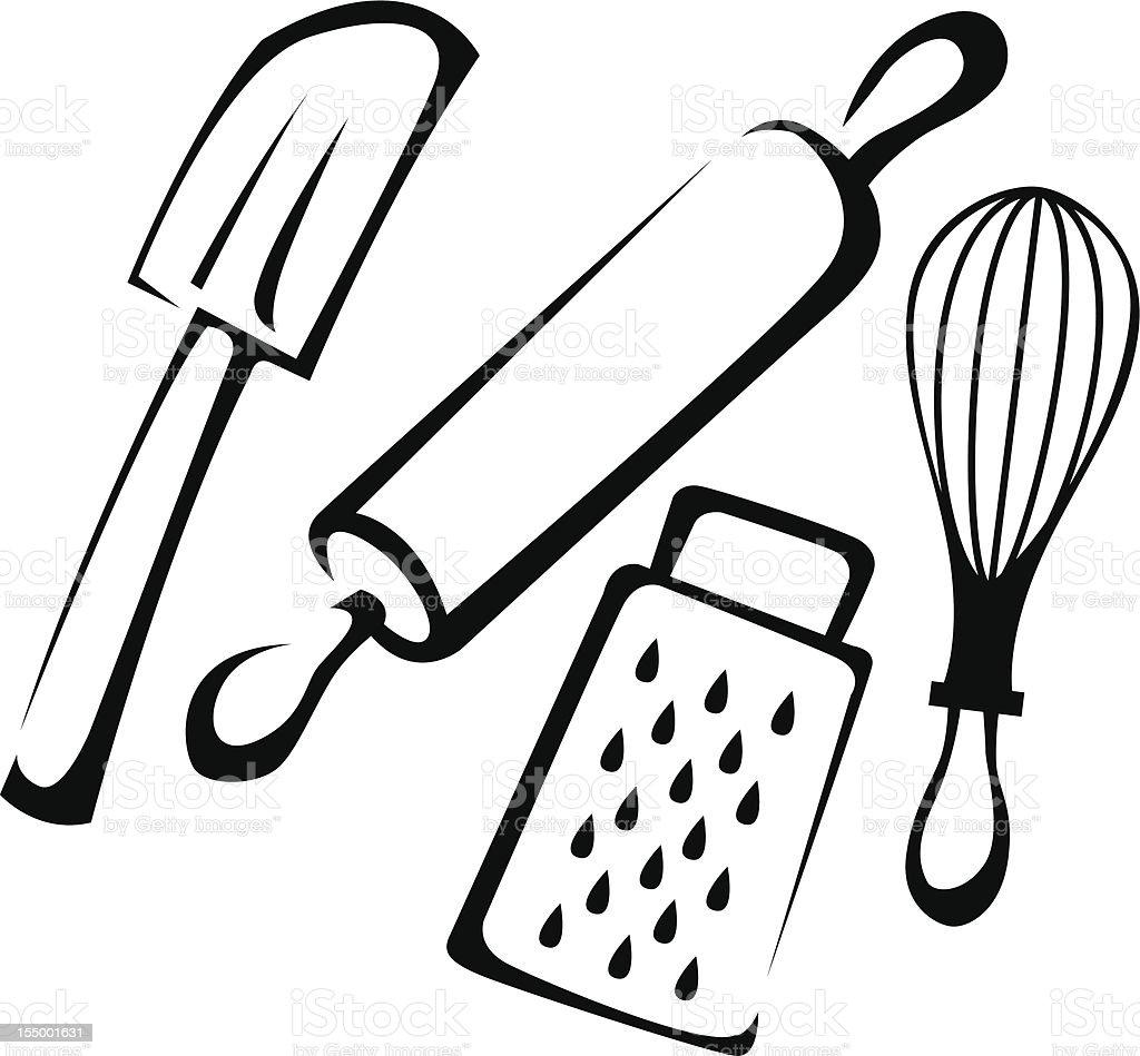 Group of Various Baking Utensils Line Art vector art illustration