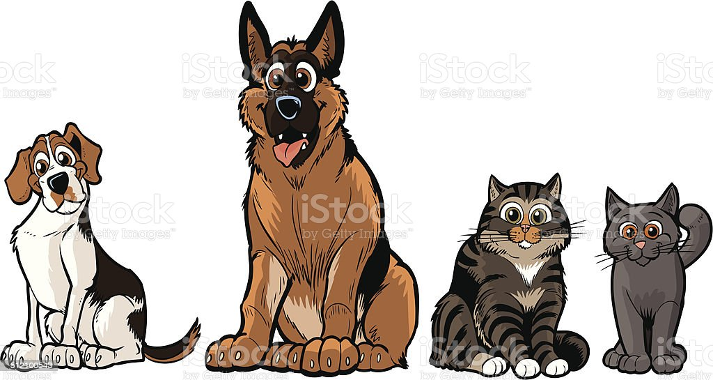 Group of Vector Cartoon Dogs And Cats vector art illustration
