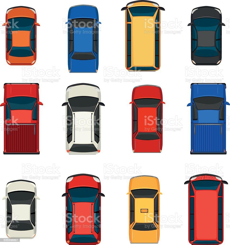 Group of vehicles vector art illustration