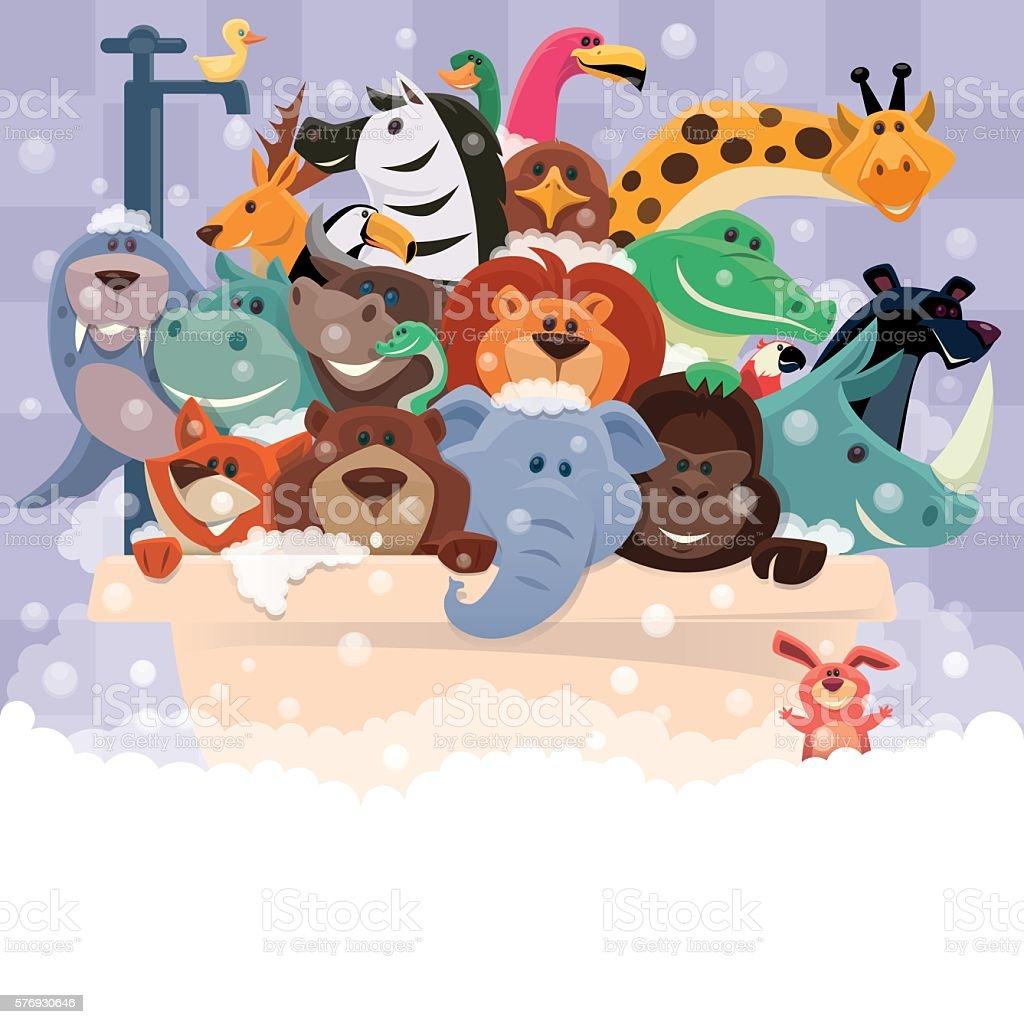 group of wild animals bathing vector art illustration