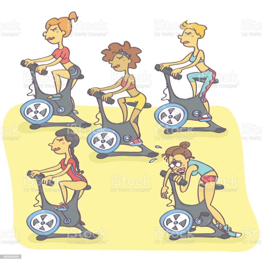 Group of women exercising on stationary bikes vector art illustration
