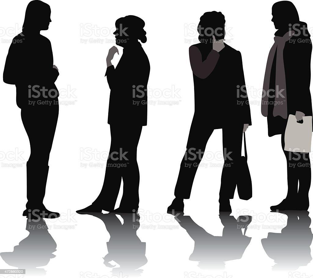 Group Of Women vector art illustration