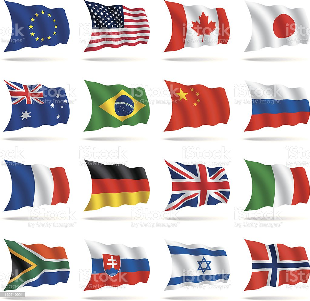 A group of world flags on a white background vector art illustration