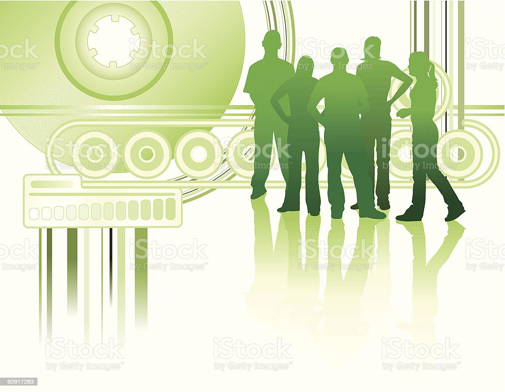 Group of young friends on an abstract background (vector & jpeg) vector art illustration