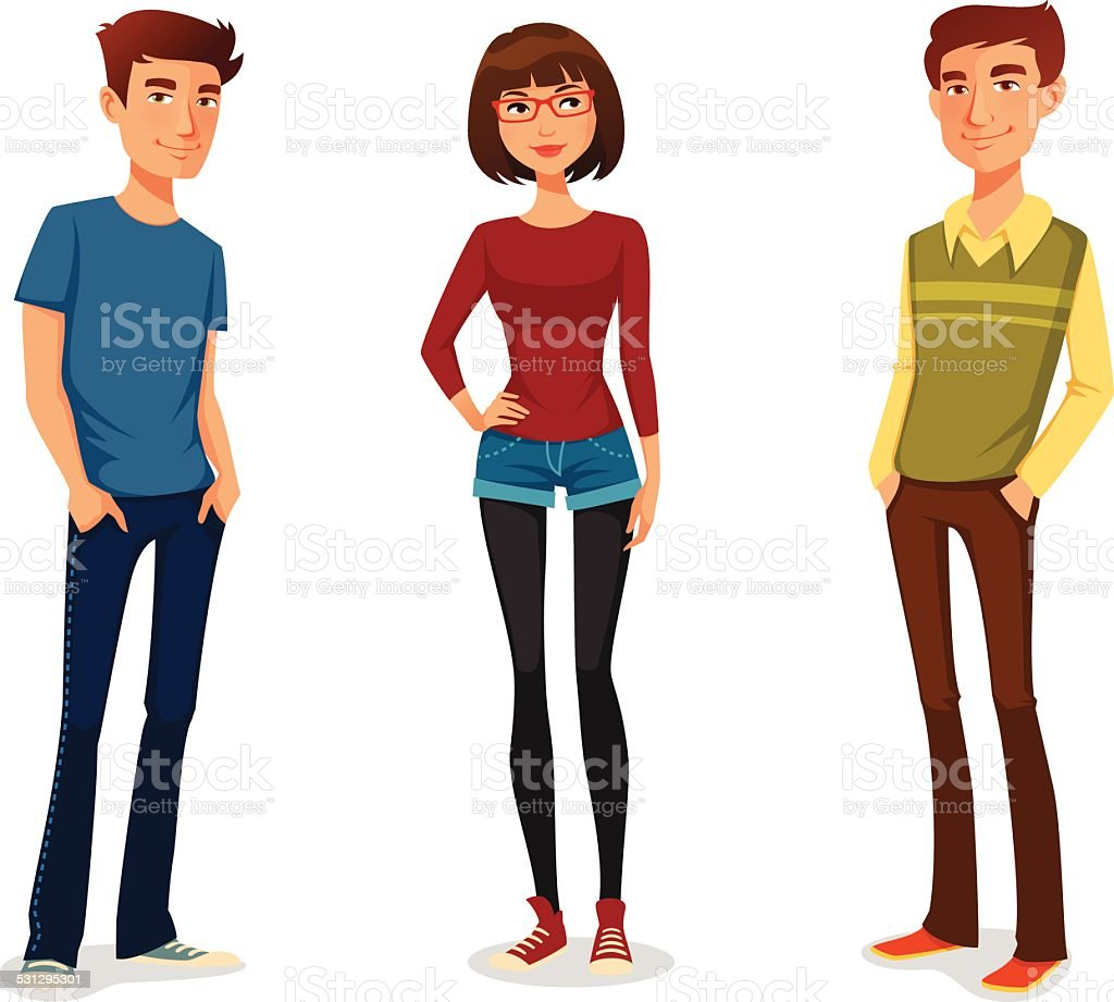 group of young people in casual clothes vector art illustration