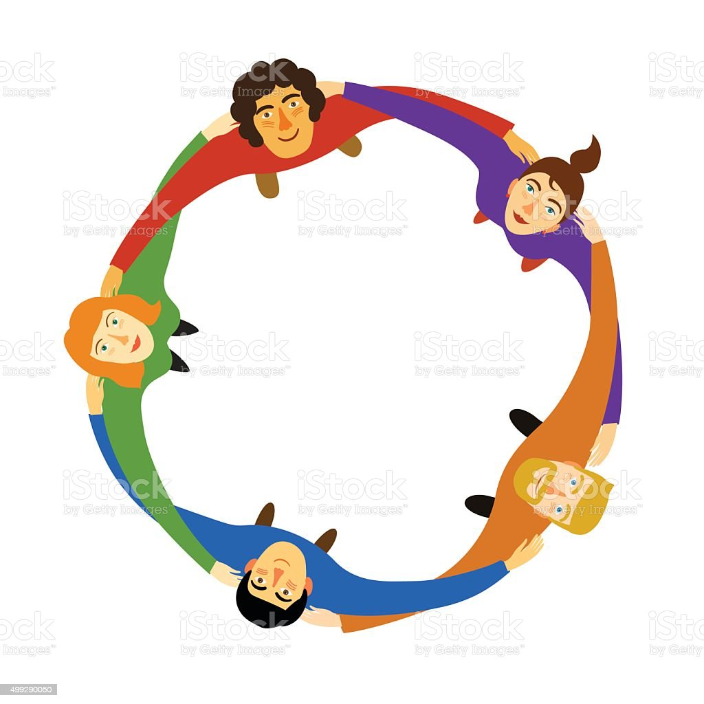Group of young people in circle vector art illustration