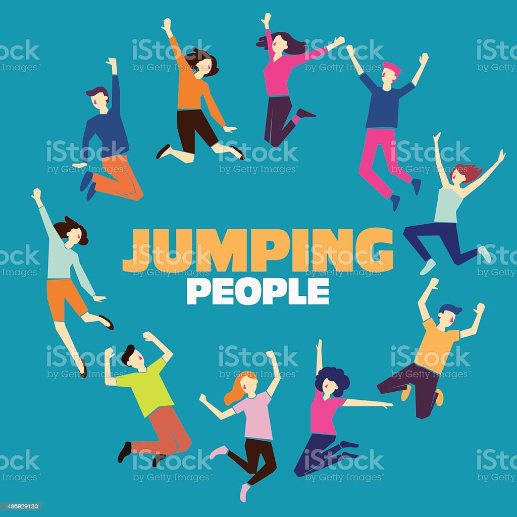 Group of young people jumping. Blue background with copy space vector art illustration